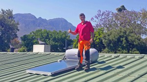 Installing a solar geyser system for Fred tree services in Somerset West
