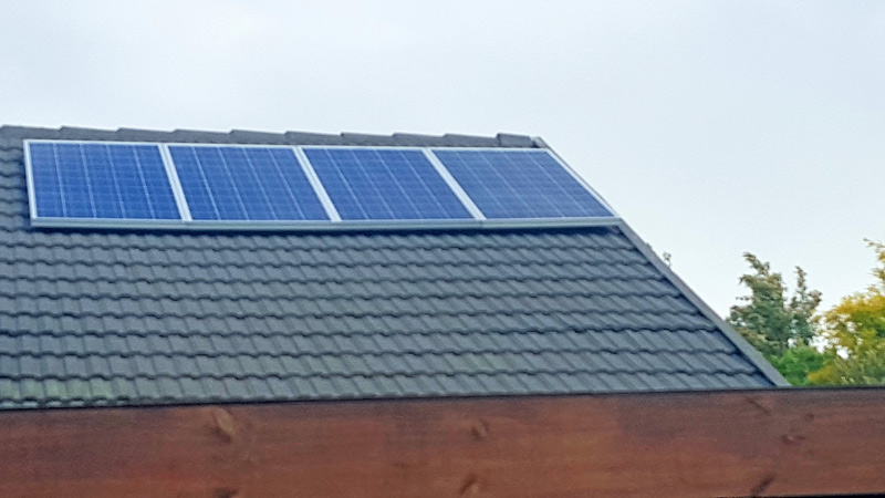 These 4 PV panels form part of the solar (PV) swimming pool pump system